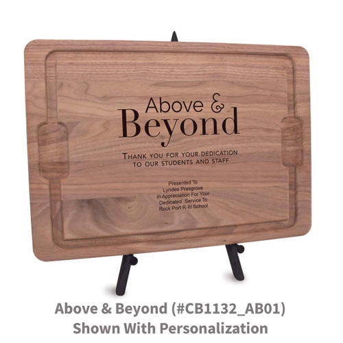 12x17 walnut rectangle cutting board with above & beyond message