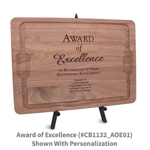 12x17 walnut rectangle cutting board with award of excellence message