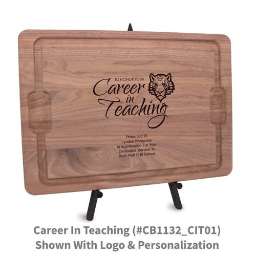 12x17 walnut rectangle cutting board with career in teaching message