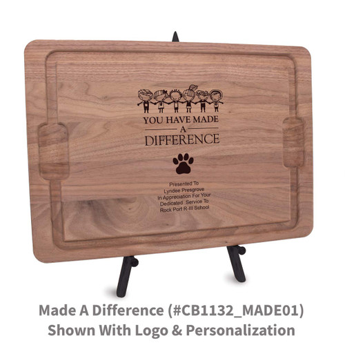 12x17 walnut rectangle cutting board with made a difference message