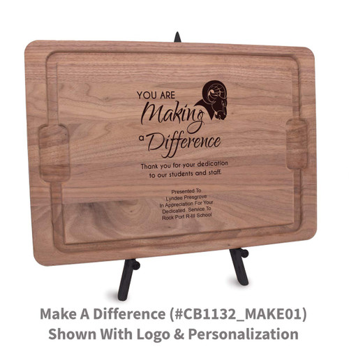 12x17 walnut rectangle cutting board with making a difference message