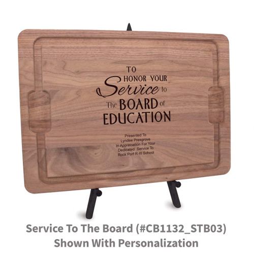 12x17 walnut rectangle cutting board with service to the board message