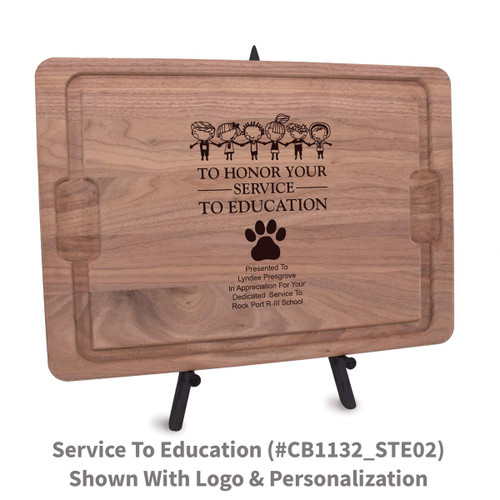 12x17 walnut rectangle cutting board with service to education message