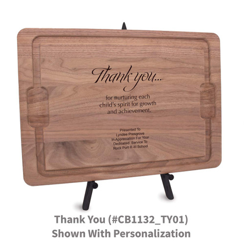 12x17 walnut rectangle cutting board with thank you message