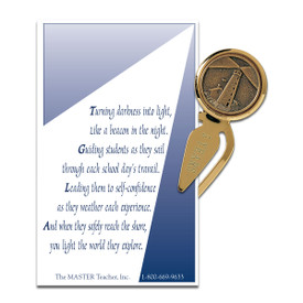lighthouse metal bookmark with message card