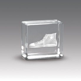 crystal cube with tennis shoe etched inside