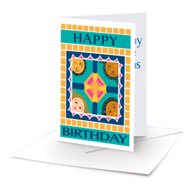 happy birthday note card with 4 kids and an envelope