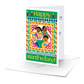 happy birthday note card with 5 kids and an envelope