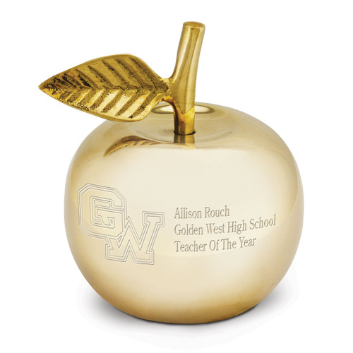 handcrafted golden apple bell made of brass with polished finish and brass clapper
