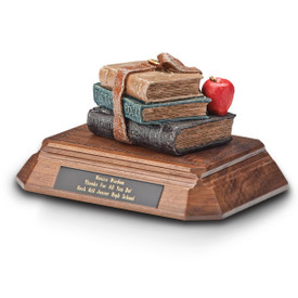 base award with painted resin books honoring a career in teaching