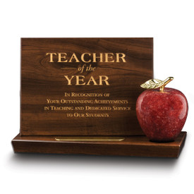 base award with teacher of the year plaque and red marble apple