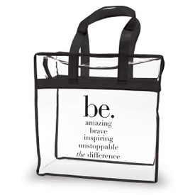 clear plastic bag with black trim and handle with be collection message