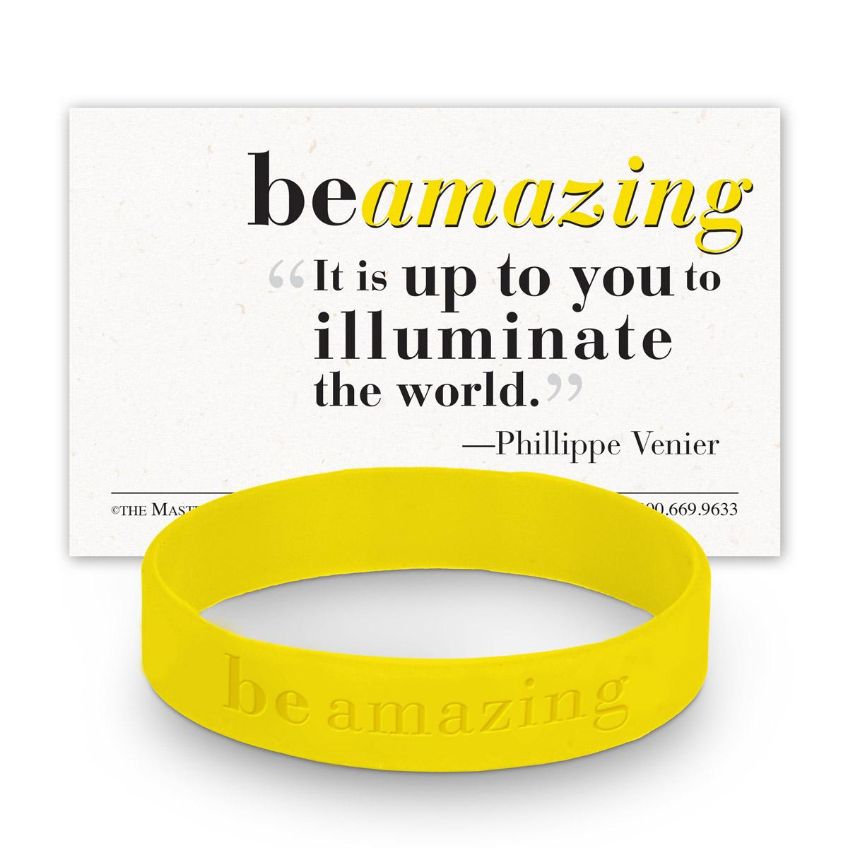 be amazing yellow silicone wristband and message card