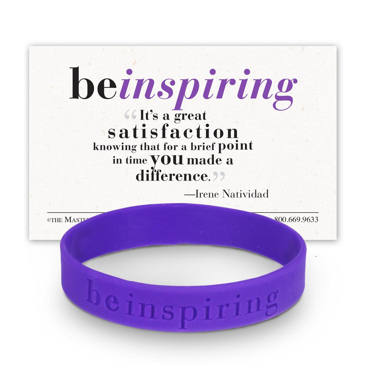 be inspiring purple silicone wristband and message card