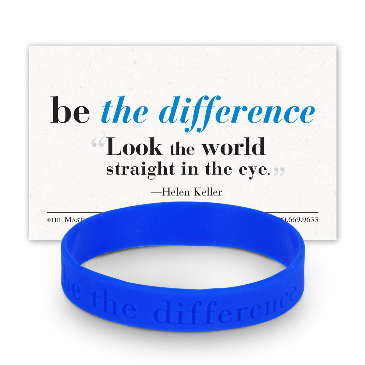 be the difference blue silicone wristband and message card