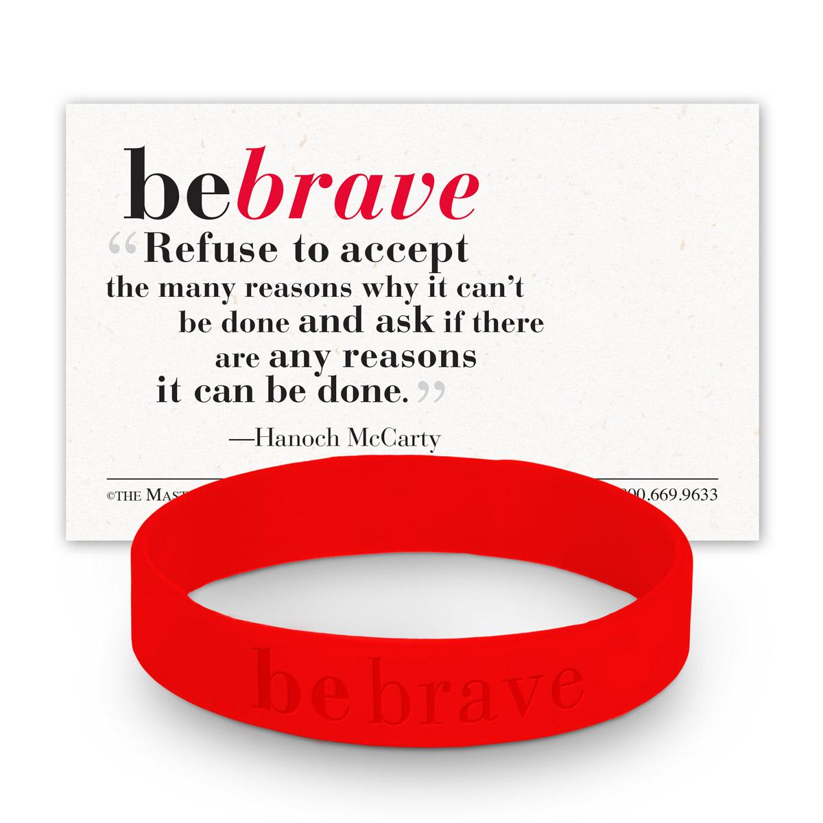 be brave red silicone wristband and message card