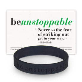 be unstoppable black silicone wristband and message card