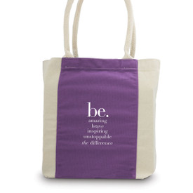 canvas tote bag with purple accent strip and rope handles with be collection message