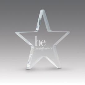 acrylic star paperweight with be the difference message