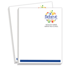 personalized notepads with believe that together we can message