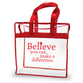 clear plastic bag with red trim and handle with believe you can message