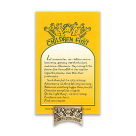 children first lapel pin with message card