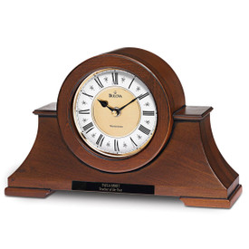 bulova cambria solid wood clock with walnut finish and two-tone medal dial