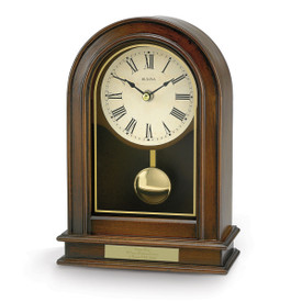 bulova hardwick solid wood clock with walnut finish and brass-toned pendulum