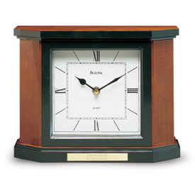 bulova holyoke solid wood mantel clock with cherry finish