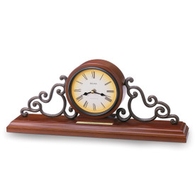 bulova strathbun solid wood mantel clock with walnut finish and metal scroll accents