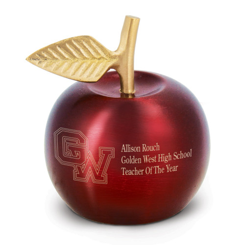 brass apple bell with brushed crimson finish and personalization