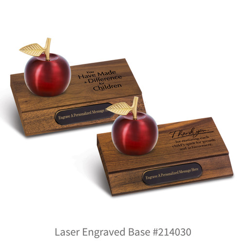 laser engraved walnut bases with black brass plates and crimson finished brass apple bells