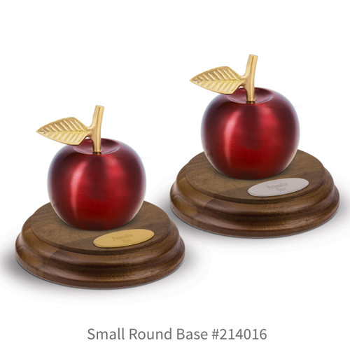 round walnut bases with brass and silver plates and crimson finished brass apple bells