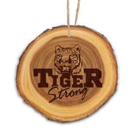 wooden ornament with tiger logo
