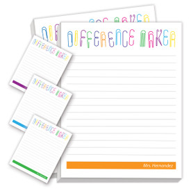 personalized difference maker notepads with four different messages