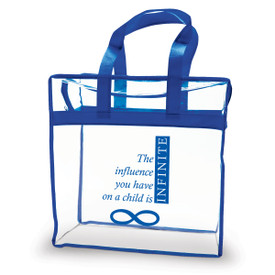 clear plastic bag with blue trim and handle with infinity message