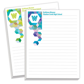 personalized notepads with kaleidoscope pattern