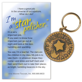 This solid brass, die cast keychain featuring Star Excellence is an affordable functional gift for teachers.