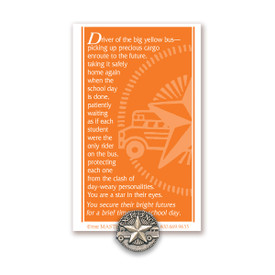 bus driver lapel pin with message card
