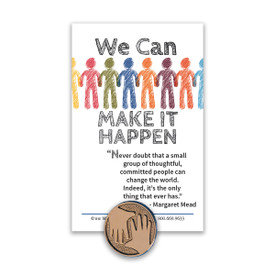 we can make it happen lapel pin and message card
