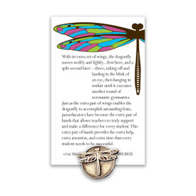 dragonfly lapel pin with paraeducator message card