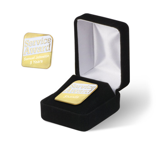 personalized service award lapel with black velvet gift box