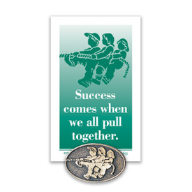 kids pulling together lapel pin with message card
