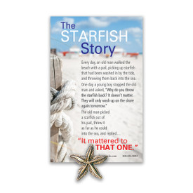 starfish shaped lapel pin with message card