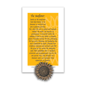 sunflower lapel pin with message card