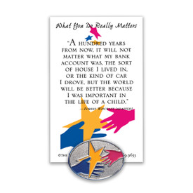 what you do really matters lapel pin with message card