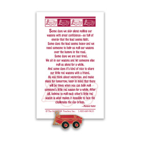 red wagon lapel pin with message card