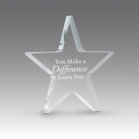acrylic star paperweight with make a difference every day message