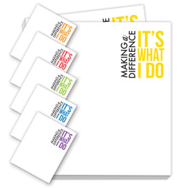 making a difference notepads with six different messages