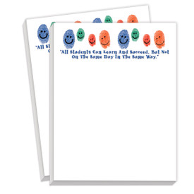 notepads with all students can learn message